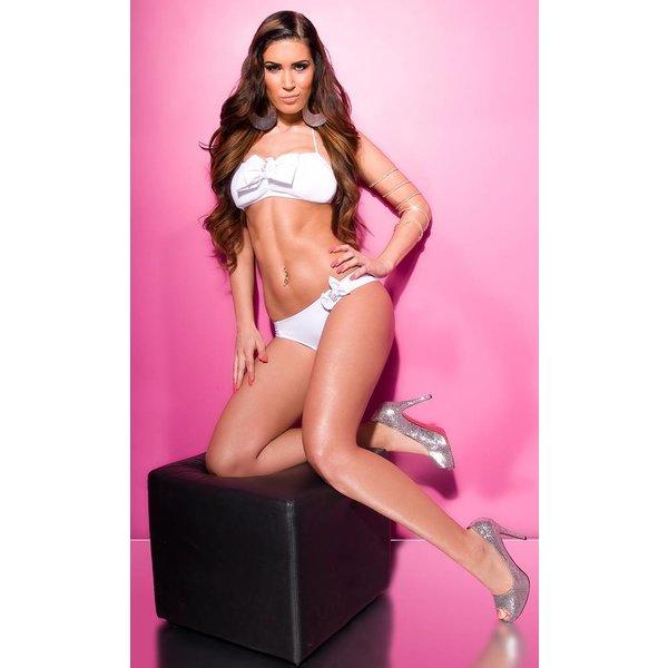 Strapless Bikini Set met Strikjes Wit
