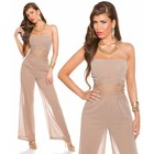 Lange Strapless Jumpsuit Cappuccino