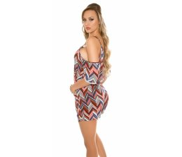 Fashion Playsuit met ZigZag Patroon Rood