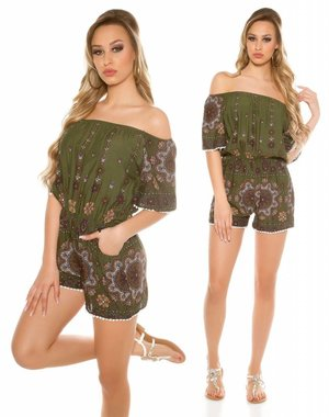 Fashion Playsuit met Off-Shoulders Khaki