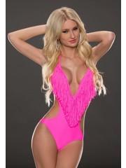 Power Flower Fashion Monokini met Lange Franjes Pink