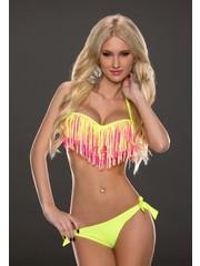 Bandeau Fringe Bikini met Franjes Geel
