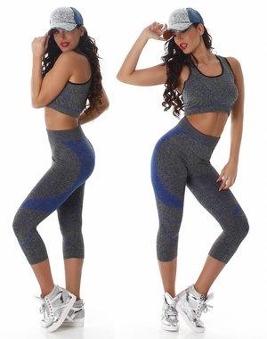 2-Delige Gym Legging met Tanktop Blauw