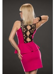 Fashion Peplum Jurk met Geborduurde Kant Pink