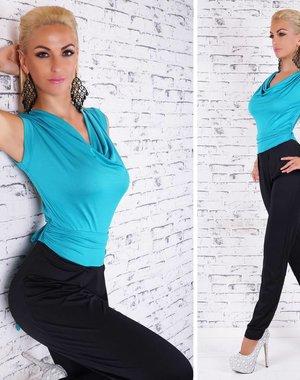 Lange Neckholder Jumpsuit Turquoise Blauw / Zwart