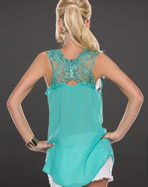 Fashion Blouse met Kant Gehaakte Rug Turquoise Groen