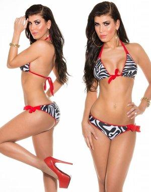 Triangel Bikini Set met Zebraprint Rood / Wit / Zwart