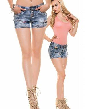 Fashion Jeanshort in Gewassen Jeans Stijl