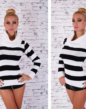 Korte Fashion Pullover met Rolkraag Wit