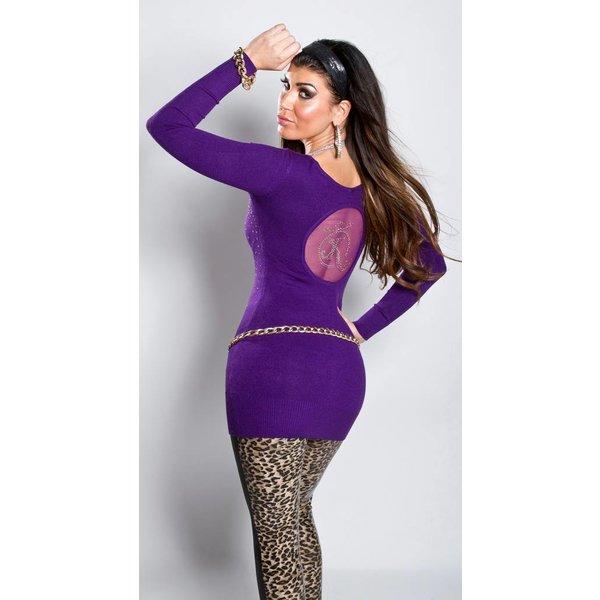 Getailleerde Lange Fashion Trui Purple