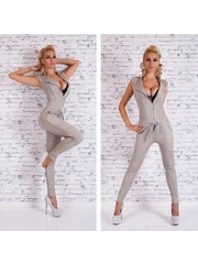 Lange Fashion Jumpsuit met Ritssluiting Grijs / Beige