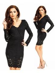 Elegante Fashion Jurk Lange Mouwen Zwart