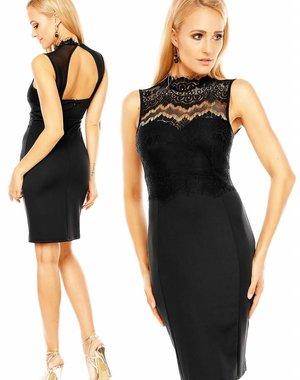 Fashion Jurk met Bloemenkant Zwart