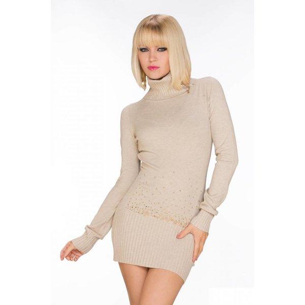 Fashion Pullover / Mini jurk met Rolkraag Oxford Tan