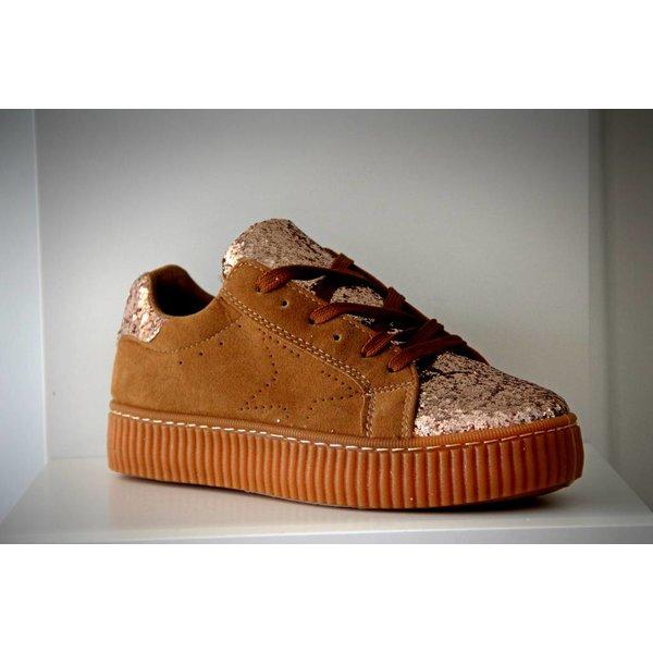 Basket Platform Sneakers met Vetersluiting Bruin