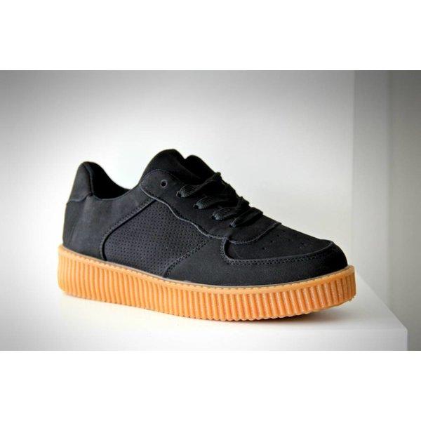 Suède-Look Basket Platform Sneakers Zwart