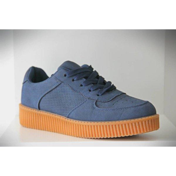 Suède-Look Basket Platform Sneakers Blauw