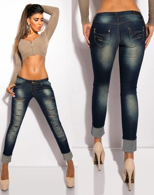 Skinny Jeansbroek met Cracks & Lace
