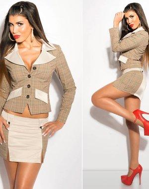 Geruite Fashion Blazer Beige