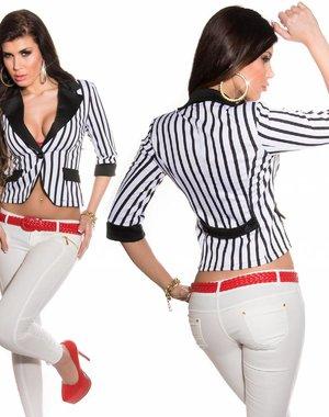 Fashion Blazer met Voering Wit / Zwart