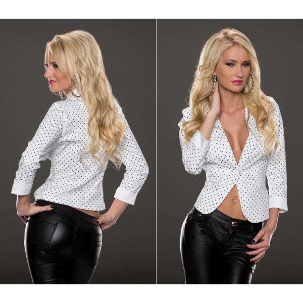 Fashion Blazer met Stippen Wit