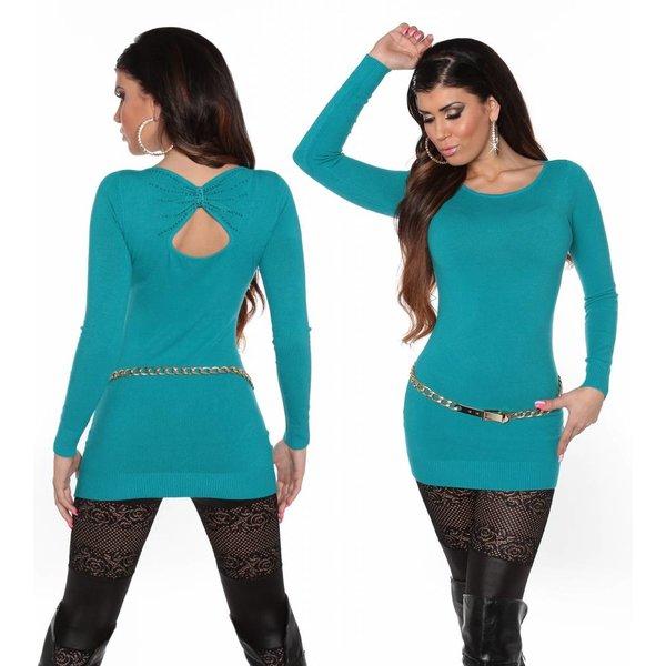 Fashion Trui met Open Rug Turquoise Blauw