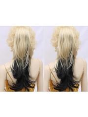 Blond / Zwart Paardenstaart Hairextension op vlinderklem Ca 65 cm
