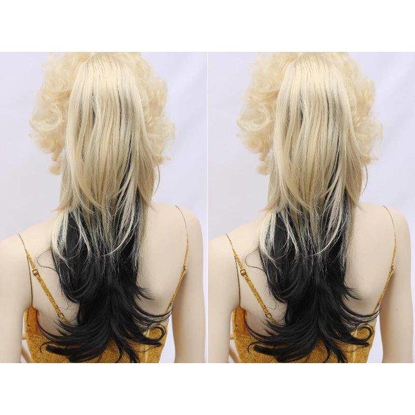 Blond / Zwart Paardenstaart Hairextension op vlinderklem Ca 65cm