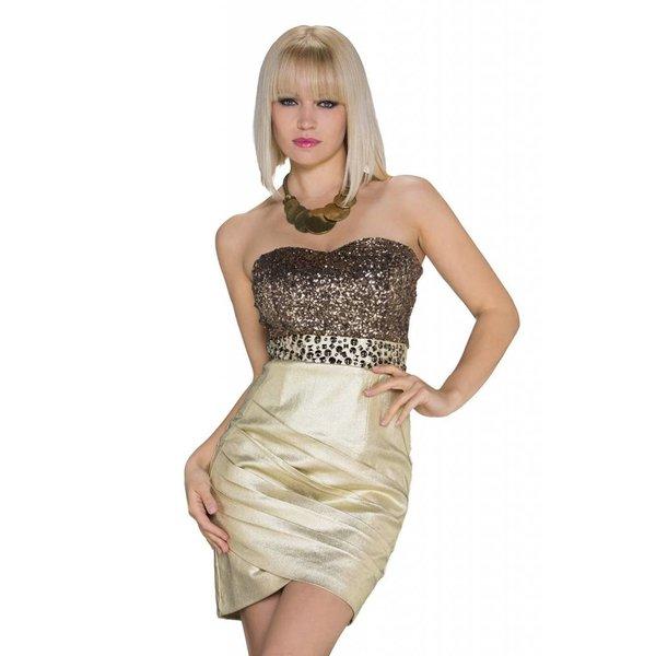 Strapless Fashion Mini Jurk Goud