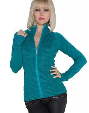 Fashion Gebreide Cardigan Turquoise Groen
