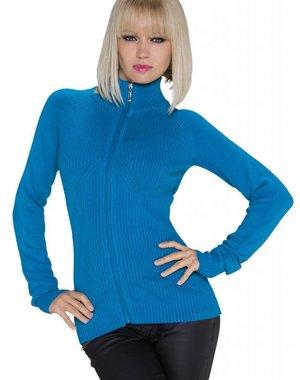 Fashion Gebreide Cardigan Royal Blauw