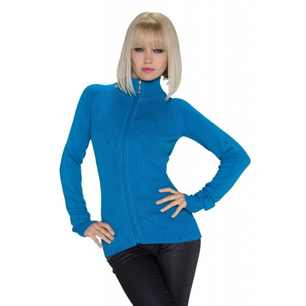 Fashion Gebreide Cardigan Royal Blauw