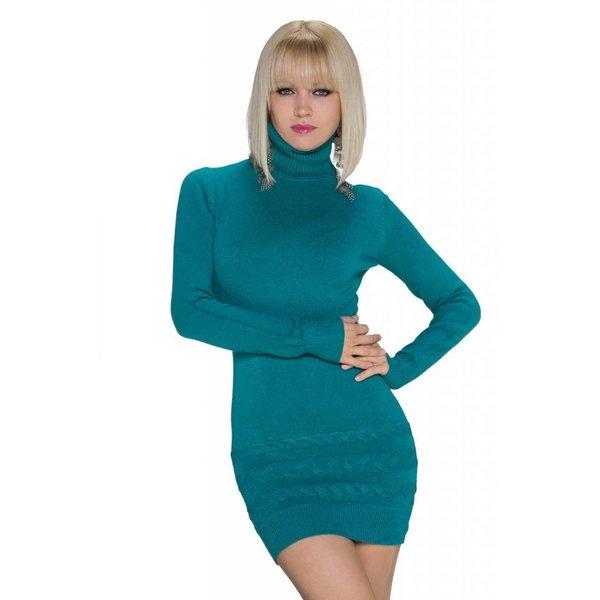 Fashion Pullover met Ribgebreide Rolkraag Turquoise Groen