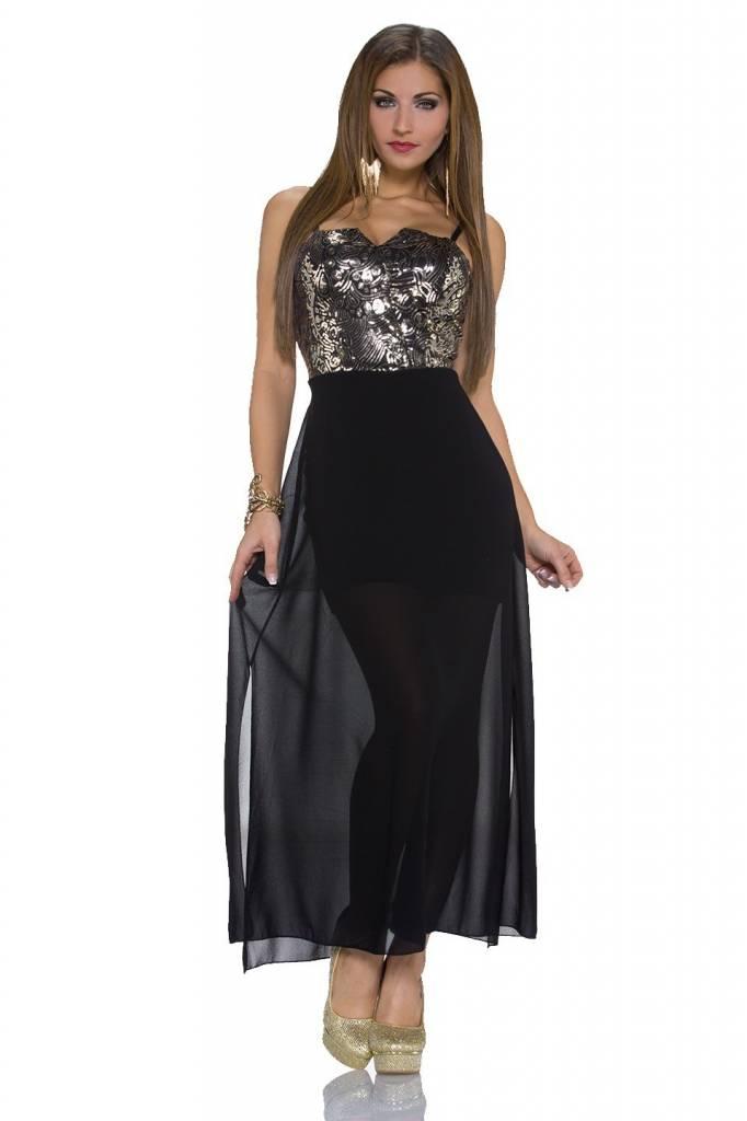 Avondjurken Modellen.Elegante Lange Avondjurk Goud Zwart Fashion Of M