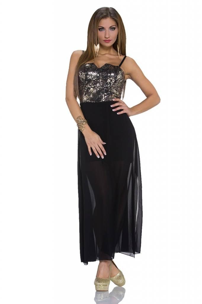 Lange Galajurken Zwart.Elegante Lange Avondjurk Goud Zwart Fashion Of M