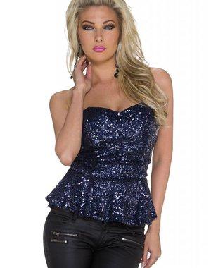 Glamour Fashion Topje met Pailletten Donker Blauw