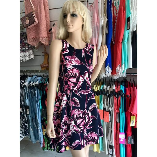 Fashion Zomerjurk met Bloemenmotief Lila