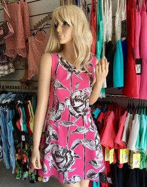 Fashion Zomerjurk met Bloemenmotief Pink