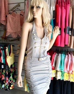 Neckholder Fashion Jurk Beige