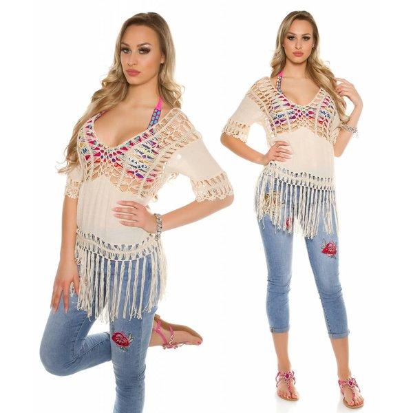 Fashion Style Losse-Fit Model Tunik in Coachella Style Beige