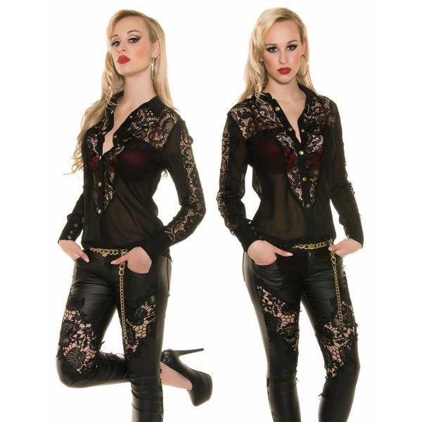 Fashion Blouse met Lange Mouwen Zwart