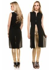 Trendy Bloes met  Overhemdkraag Zwart