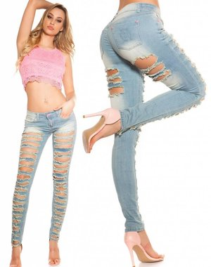 Skinny Jeansbroek in Destroyed Style Licht Blauw