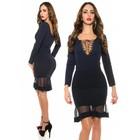 Fashion Taille Rok met Mesh Details Navy Blauw