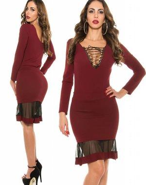 Fashion Taille Rok met Mesh Details Bordeaux