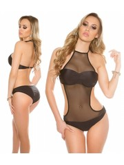 Neckholder Push-Up Monokini met Softcups Zwart