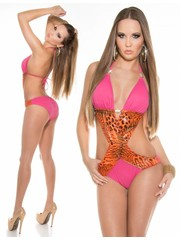 Neckholder Push-Up Monokini met Animal Print Fuchsia