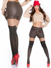 2 in1 Short in Leather Look Jessica S. Style Bruin