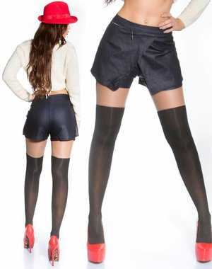 2 in1 Short in Leather Look Jessica S. Style Navy
