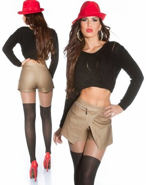 2 in1 Short in Leather Look Jessica S. Style Beige